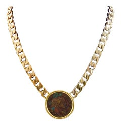 Bvlgari Gold Chain Necklace Ancient Roman Coin