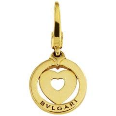 Bvlgari Gold Tondo Heart 18 Karat Yellow Charm Pendant