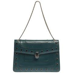 Bvlgari Green Leather Medium Studded Serpenti Forever Flap Shoulder Bag