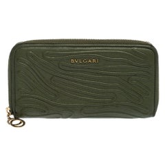 Bvlgari Green Leather Zip Around Wallet