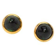 Bvlgari Green Tourmaline Pyramid Cabochon Yellow Gold Stud Earrings