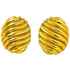 Bvlgari Handmade 18 Karat Gold Earrings