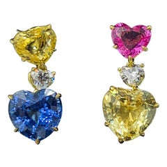 Bvlgari Heart-Shaped Sapphire and Diamond Earrings