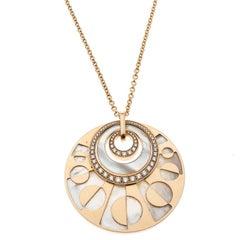 Bvlgari Intarsio Diamond Mother of Pearl 18K Rose Gold Medallion Necklace