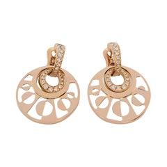 Bvlgari 'Intarsio' Rose Gold Mother-of-Pearl and Diamond Pendant Earrings