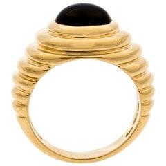 Bvlgari Iolite Cabochon Textured 18k Yellow Gold Cocktail Ring Size 54