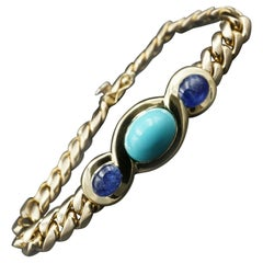 Bvlgari Italy 18 Karat Gold, Sapphire and Turquoise Link Bracelet Vintage Rare