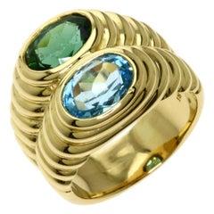 Bvlgari Italy 18k Yellow Gold, Blue Topaz & Green Tourmaline Doppio Ring Vintage