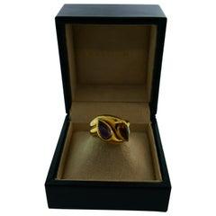 Bvlgari Italy 18k Yellow Gold, Cabochon Citrine & Amethyst Double Snake Ring