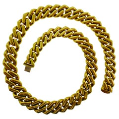 Bvlgari Italy 18k Yellow Gold Curb Link Chain Necklace Vintage circa 1970s Heavy