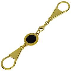Bvlgari Key Ring Onyx 18 Karat Yellow Gold Chain