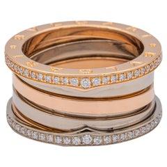 Bvlgari Labyrinth B-Zero Pink and White Gold 2 Tone Ring