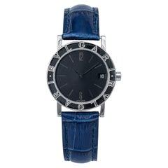 Bvlgari Ladies Diagono BB30SLD Stainless Steel Quartz Watch Black Dial