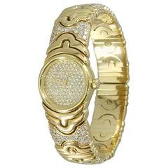 Bvlgari Ladies Yellow Gold Diamond Parenthesis Quartz Bangle Wristwatch