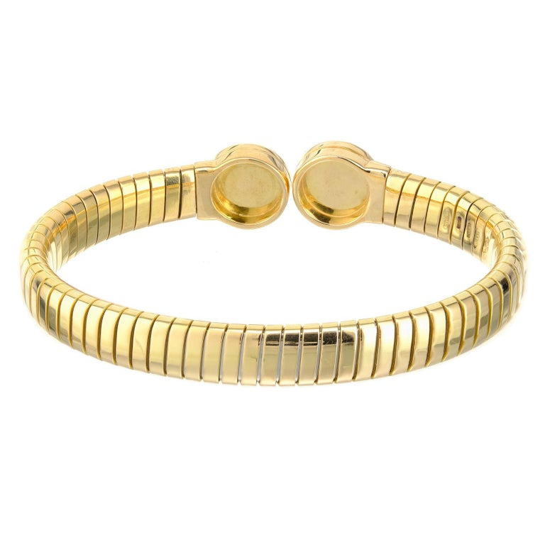 Round Cut Bvlgari Lapis Lazuli Yellow Gold Bangle Bracelet For Sale