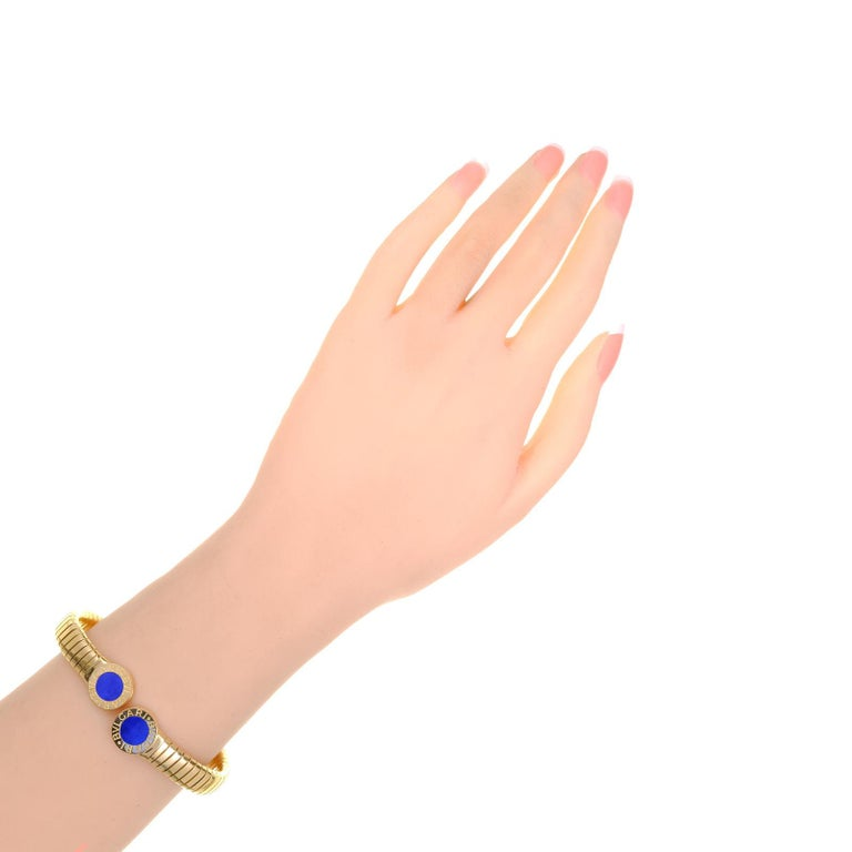 Women's Bvlgari Lapis Lazuli Yellow Gold Bangle Bracelet For Sale