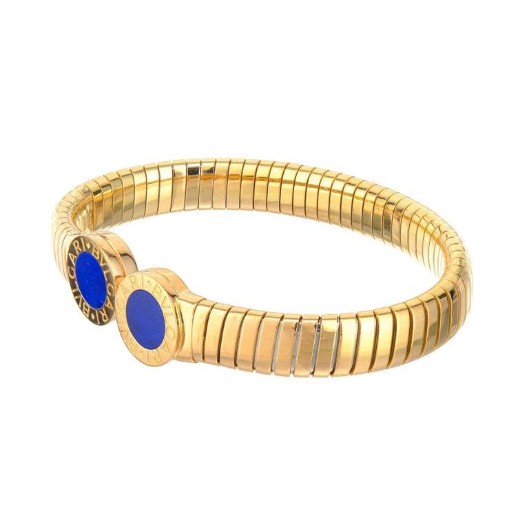 Bvlgari Lapis Lazuli Yellow Gold Bangle Bracelet For Sale 1