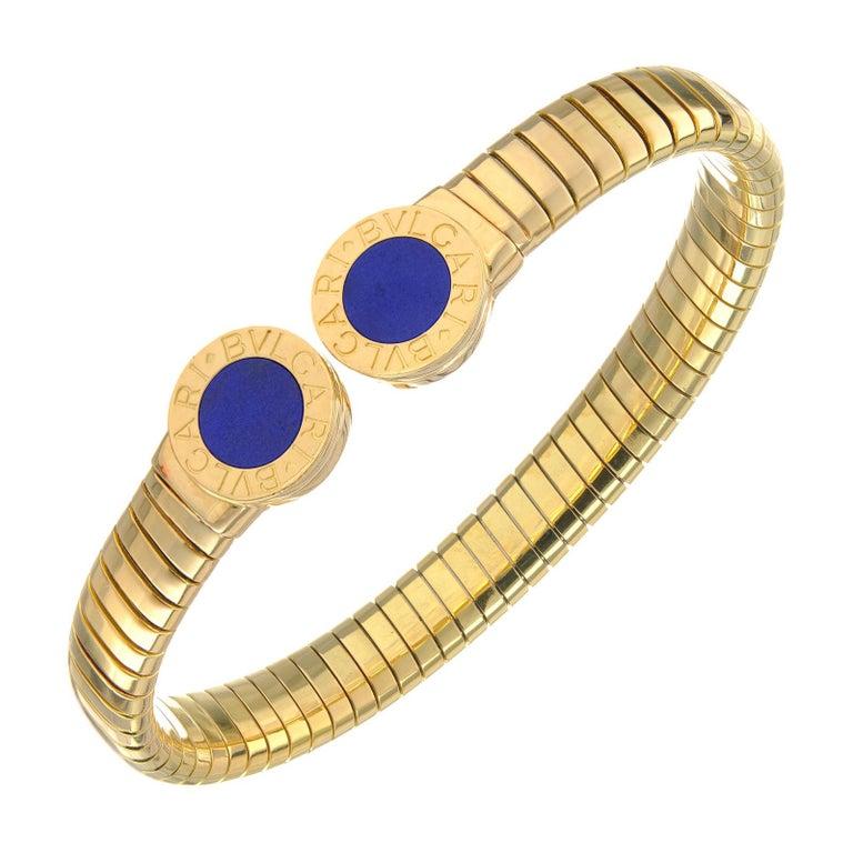 Bvlgari Lapis Lazuli Yellow Gold Bangle Bracelet For Sale