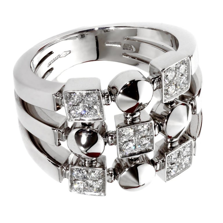 Round Cut Bvlgari Lucea White Gold Diamond Cocktail Ring For Sale
