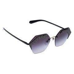 Bvlgari Matte Black/ Grey Gradient 6103 Serpenteyes X Hexagonal Sunglasses