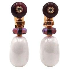 Bvlgari 'Mediterranean Eden Sassi' Rose Gold Ceramic Amethyst and Diamond Earrin