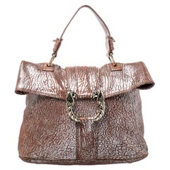 Bvlgari Metallic Brown Leather Leoni Top Handle Bag