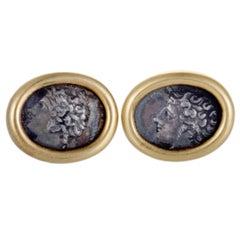 Bvlgari Monete Ancient Coin Gold Cufflinks
