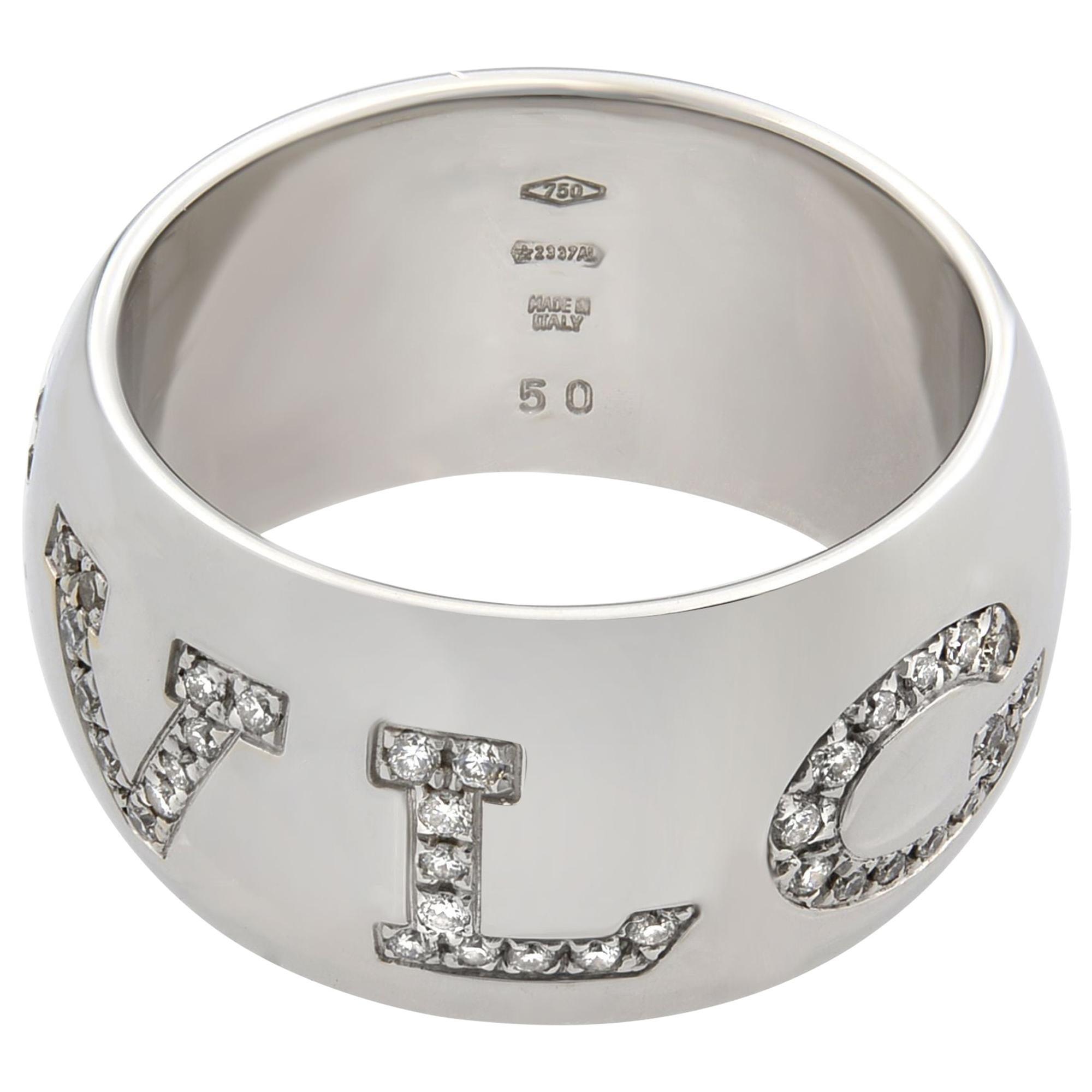 Bvlgari Monologo 18 Karat White Gold Diamond Ring 0.90 Carat