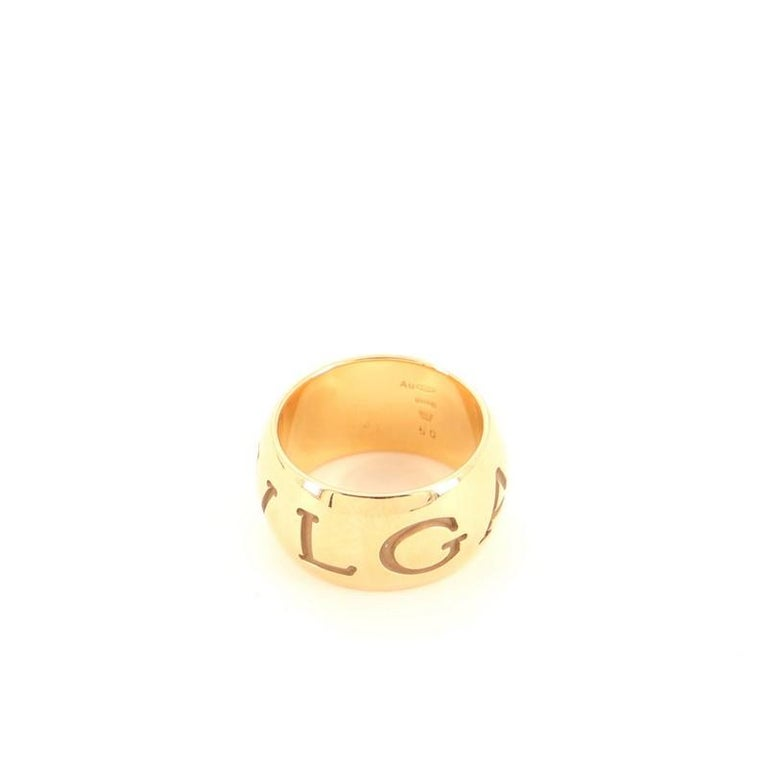 Condition: Very good. Wear and moderate scratches throughout. Accessories: No Accessories Measurements: Size: 5.25 - 50 Designer: Bvlgari Model: Monologo Ring 18K Rose Gold Exterior Material: 18K Rose Gold Exterior Color: Rose Gold Item Number: