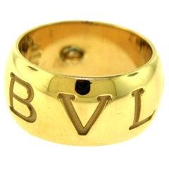 Bvlgari Monologo Wide 18 Karat Yellow Gold Signature Band Ring