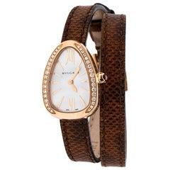 Bvlgari Mother of Pearl 18K Rose Gold Serpenti 102727 Women's Wristwatch 20 mm