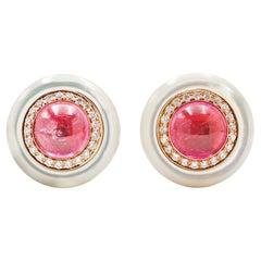 Bvlgari Mother of Pearl, Diamond, and Pink Tourmaline Earrings
