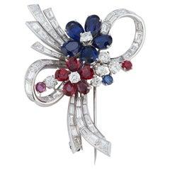 Bvlgari Multi Gem & Diamond Floral Brooch