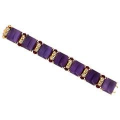 Bvlgari MVSA Collection 18Kt Gold Amethyst, Rubelite and Diamond Ladies Bracelet