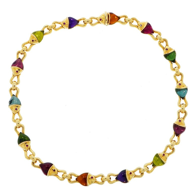 Modern Bvlgari Naturalia Multi Gem Fish Yellow Gold Necklace For Sale