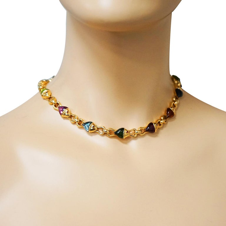 Women's Bvlgari Naturalia Multi Gem Fish Yellow Gold Necklace For Sale