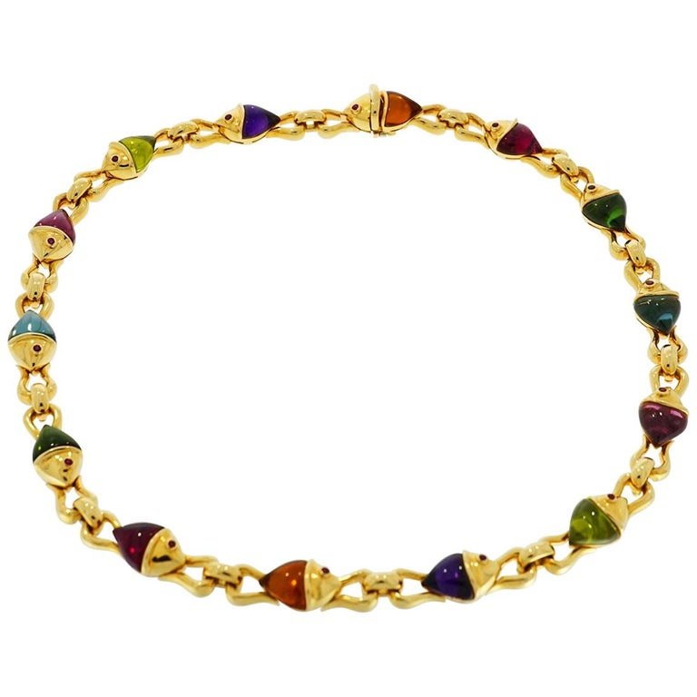 Bvlgari Naturalia Multi Gem Fish Yellow Gold Necklace For Sale