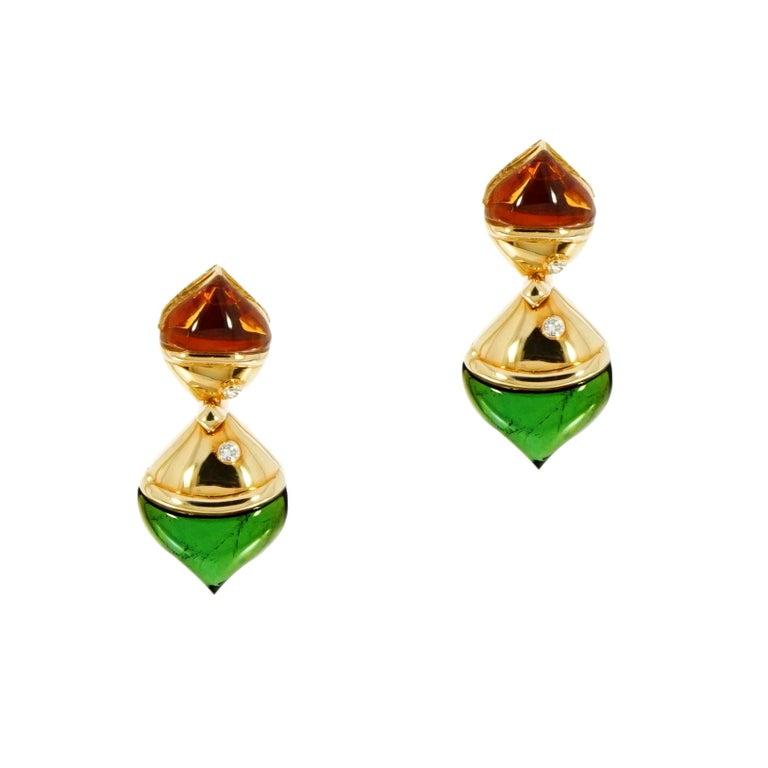 Bvlgari Naturalia Yellow Gold Drop Earrings For Sale