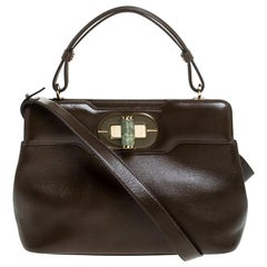 Bvlgari Olive Green Leather Isabella Rossellini Top Handle Bag