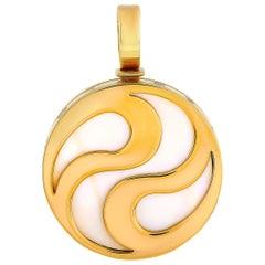 Bvlgari Optical Illusion 18 Karat Yellow Gold Mother of Pearl Spinning Pendant