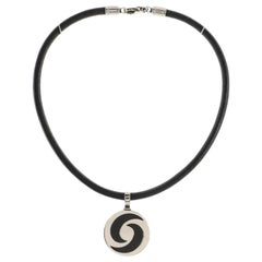 Bvlgari Optical Illusion Pendant Cord Necklace 18k White Gold and Stainless