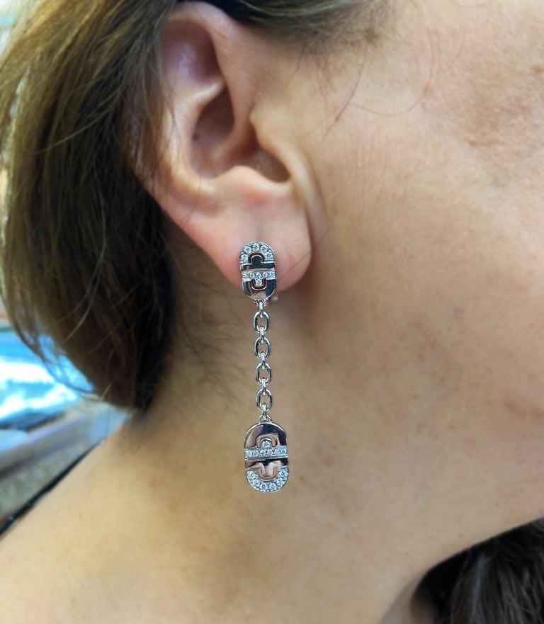 Modern Bvlgari Parentesi 18 Karat White Gold Diamond Drop Dangle Earrings For Sale