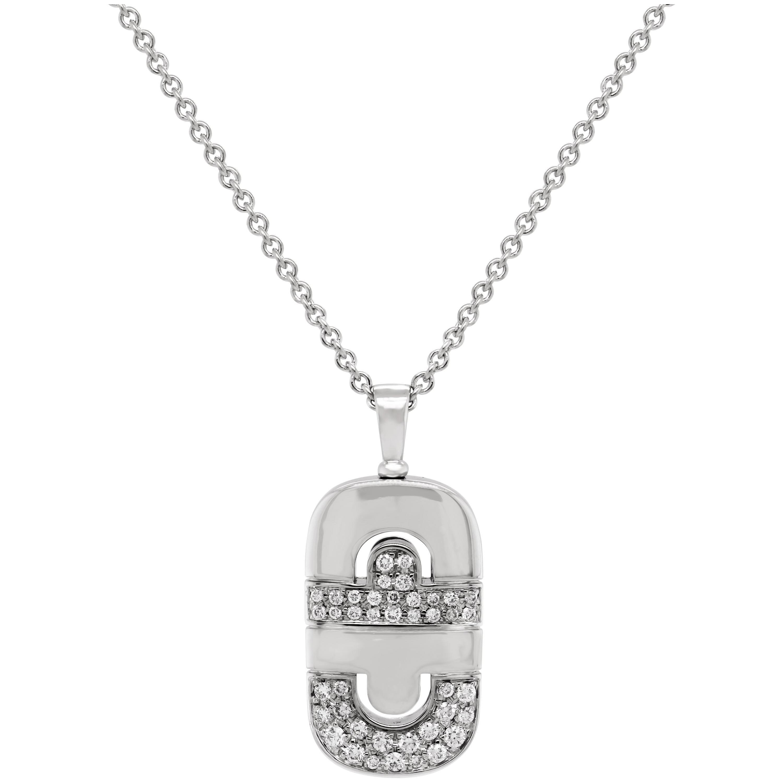 Bvlgari Parentesi 18 Karat White Gold Diamond Pendant Necklace