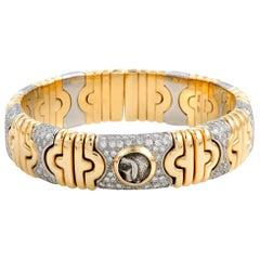 Bvlgari Parentesi 18 Karat Yellow and White Gold Diamond Coin Bangle Bracelet
