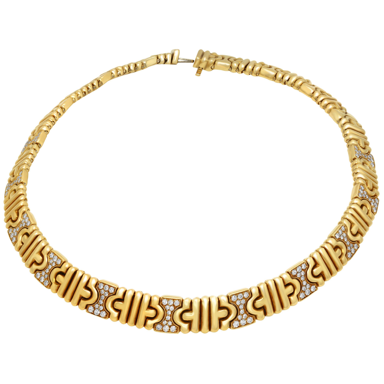 Bvlgari Parentesi 18 Karat Yellow Gold and Diamond Choker Necklace
