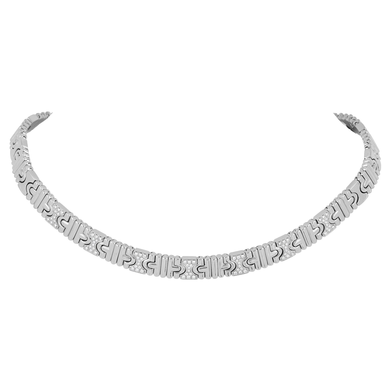 Bvlgari Parentesi 18K White Gold 0.85 Ct Diamond Necklace
