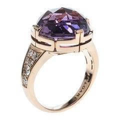 Bvlgari Parentesi Amethyst & Diamonds 18k Rose Gold Cocktail Ring Size 53