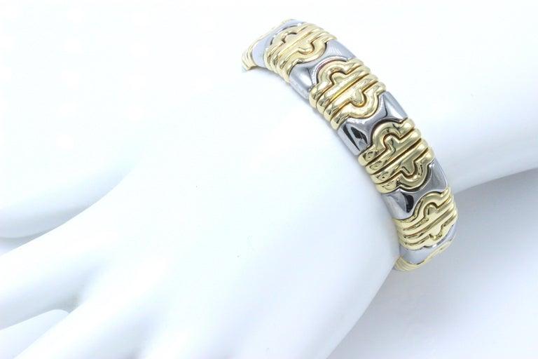 Bulgari Parentesi Cuff 15mm Gold Bracelet  In Excellent Condition For Sale In San Diego, CA