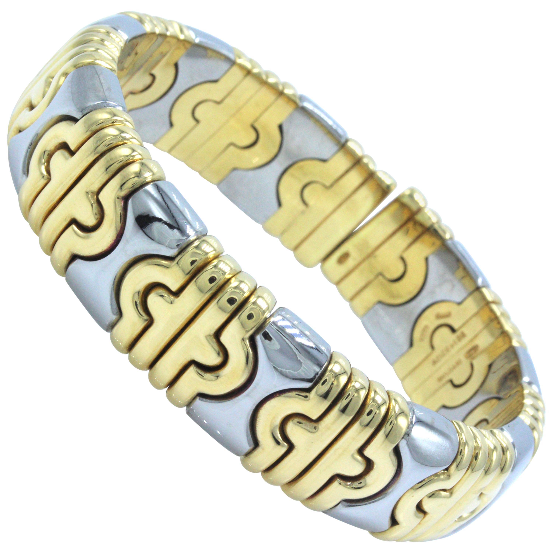 Bulgari Parentesi Cuff 15mm 18k Yellow Gold & Stainless Steel Bracelet Cuff