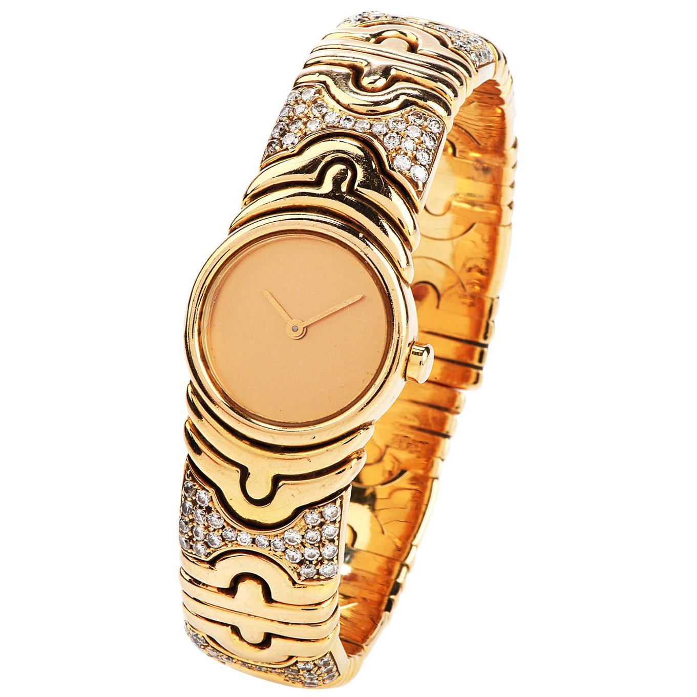 Bvlgari Parentesi Diamond 18 Karat Gold Cuff Bangle Ladies Watch